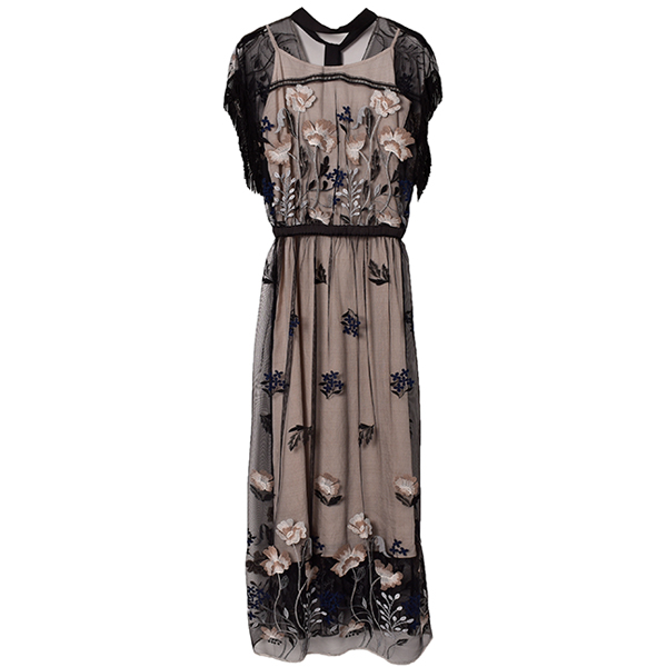 FLOWER EMBROIDERY DRESS/BLACK