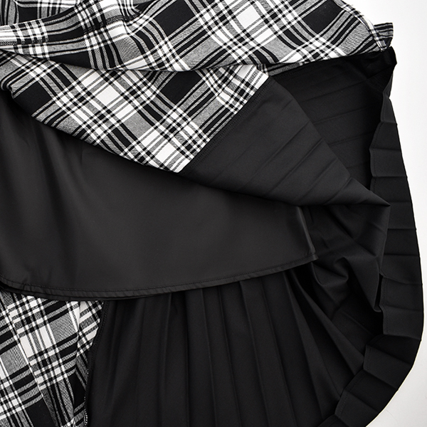 CHECK ONE SHOULDER JUMPER SKIRT/BLACK