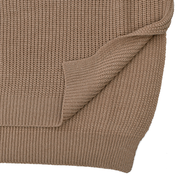CABLE SLEEVE PULLOVER/BEIGE
