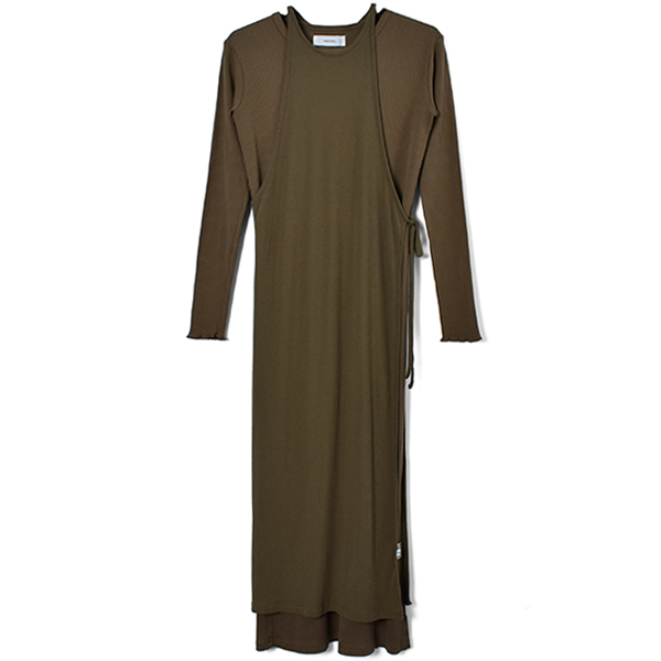 Cottonrib Layered Dress/BROWN