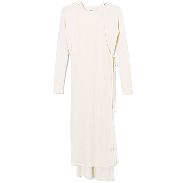 Cottonrib Layered Dress/ECRU