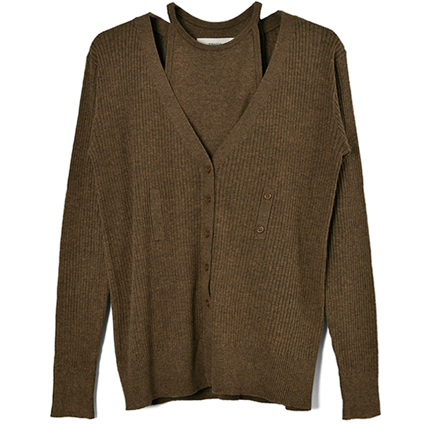 Layered Knit Cardigan/BROWN