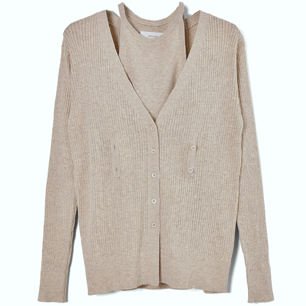 Layered Knit Cardigan/NATURAL