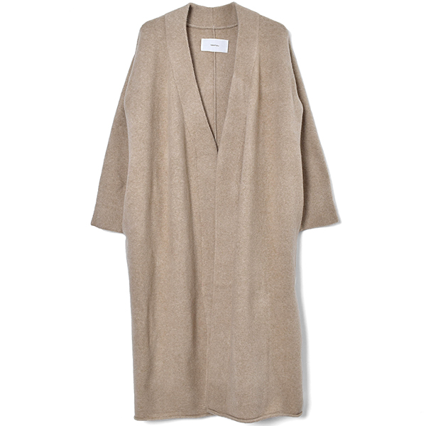 Collarless Long Cardigan/BEIGE