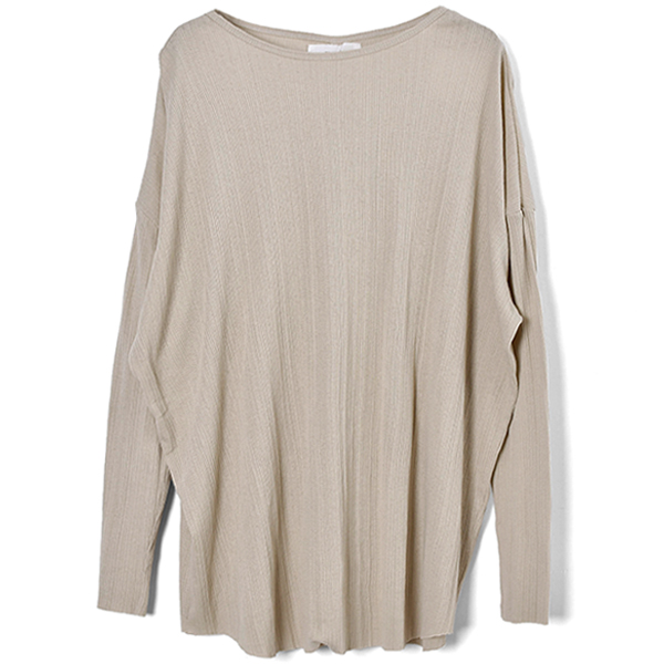 Randomrib Over Long T-Shirts/BEIGE