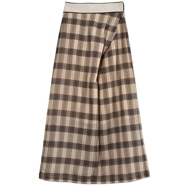 Check Wraparound Skirt/NATURAL
