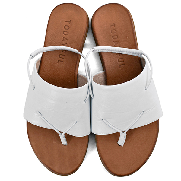 Leather Tong Sandals/WHITE