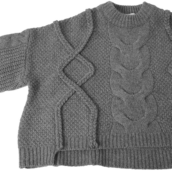 CROPPED 3D KNIT TOPS/GRAY