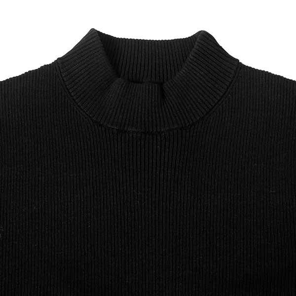 H/N RIB KNIT TOPS/BLACK