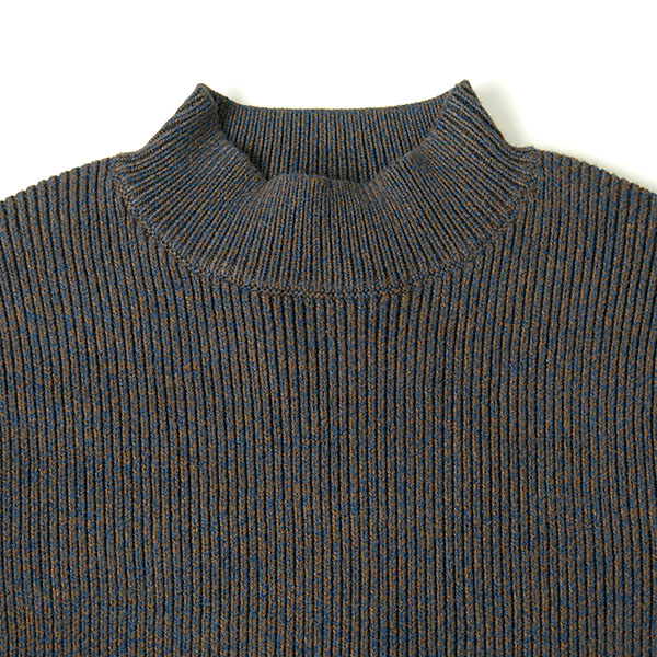 H/N RIB KNIT TOPS/BLUE
