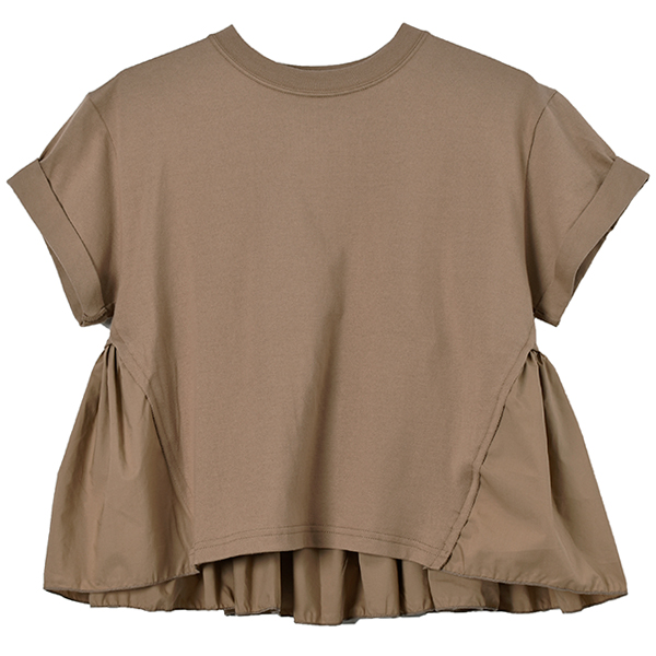 BACK FRILL T/S/BEIGE