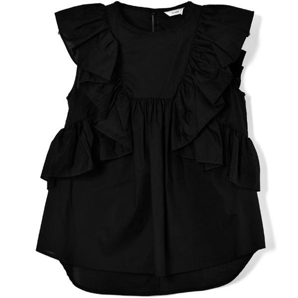 VOLUME FRILL TOPS/BLACK