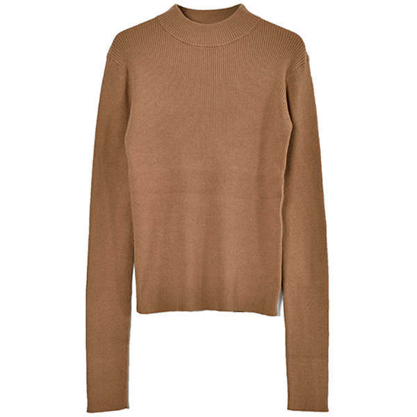 HIGH-NECK RIB KNIT/BEIGE