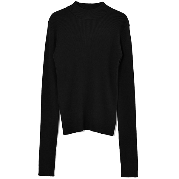 HIGH-NECK RIB KNIT/BLACK
