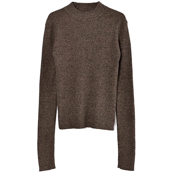 HIGH-NECK RIB KNIT/BROWN