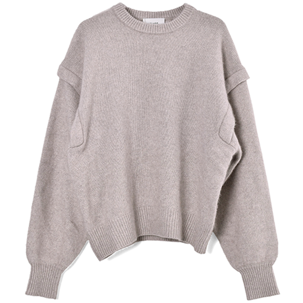 BACK PLEAT KNIT TOPS/IVORY