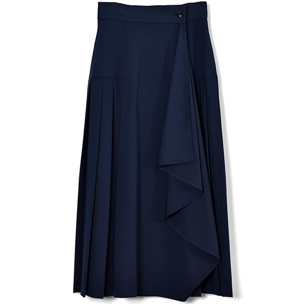 ASSYMETRY FRILL PLEAT WRAP SKIRT/NAVY