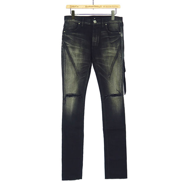 AGING BLACK KNEE CRUSH SKIN DENIM
