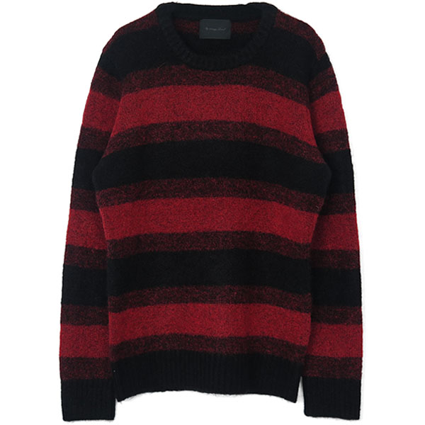 PASSION STRETCH MOHAIR ニットプルオーバー/BLACK/RED