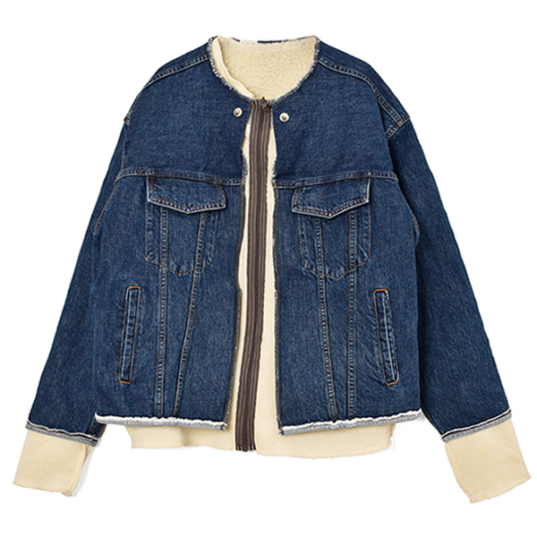NO COLLOR DENIM BLOUSON/BLUE