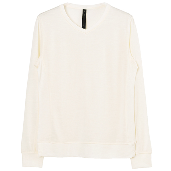 washable V-neck knit/white