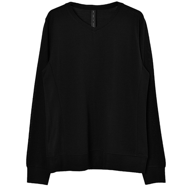 washable V-neck knit/black