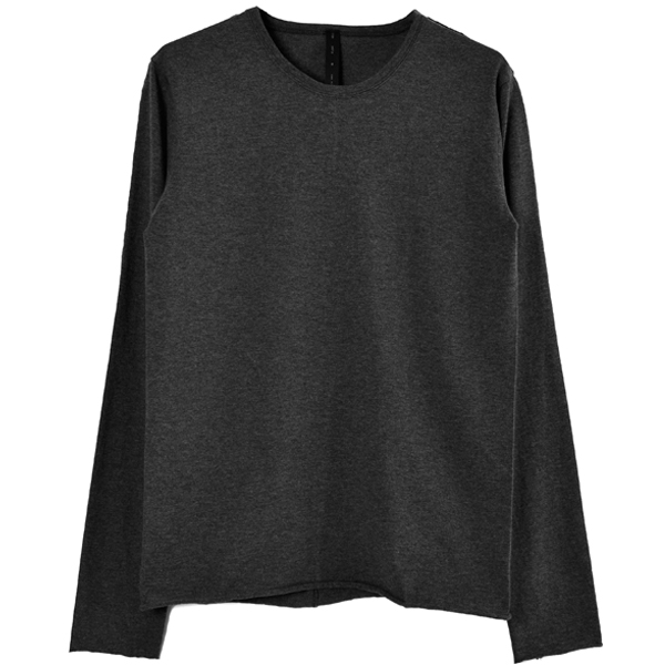 standard jersey crew neck L-S/charcoal top