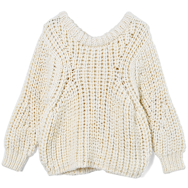 Chunky Hand Knit Pullover/IVORY