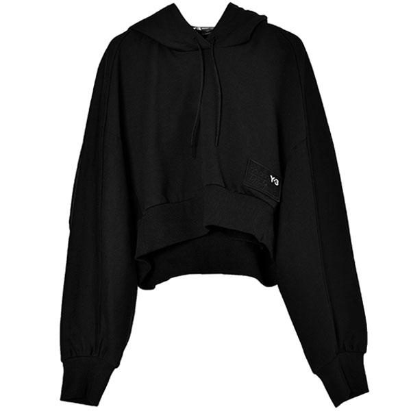 W STACKED BADGE CROPPED HOODY/BLACK