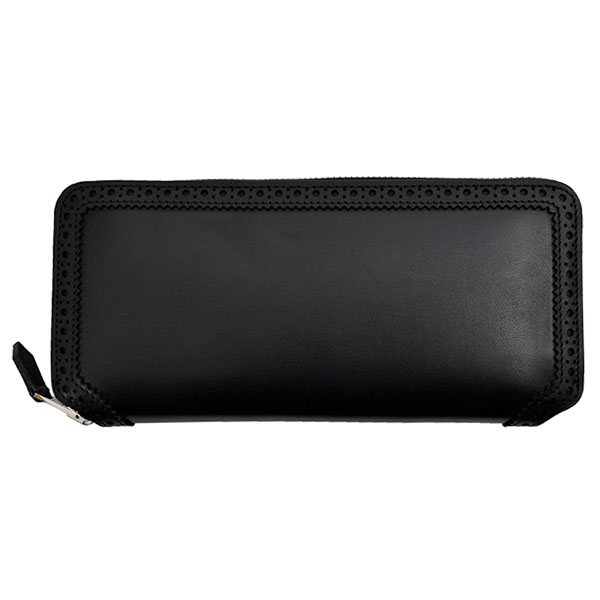 BROGUE ZIP WALLET/BLACK