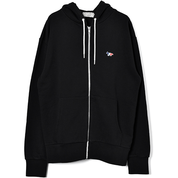 ZIP-UP SWEAT HOODY TRICOLOR/BLACK
