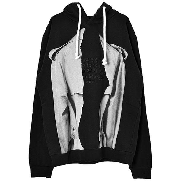 TRENCH PRINT PULLOVER HOODIE/BLACK