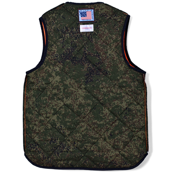 UNSERIOUS Quilted Vest/ORANGE/CAMO