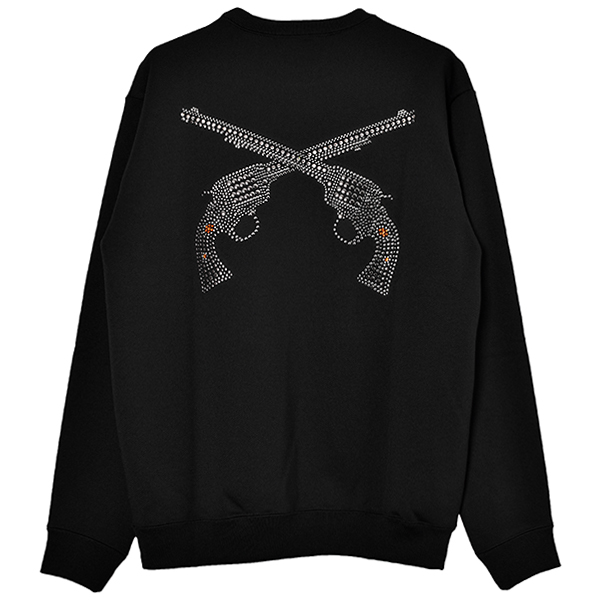 BIG PISTOL SWAROVSKI METAL&CRYSTAL SWEATSHIRT/BLACK