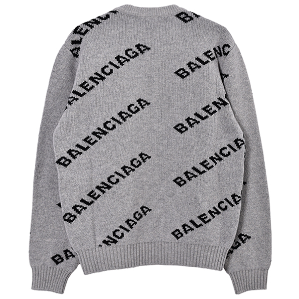 WOOL LOGO JACQUARD KNIT/GRAY/BLACK