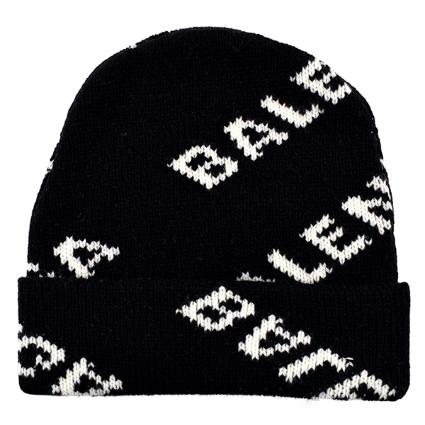 WOOL LOGO JACQUARD KNIT CAP/BLACK/WHITE