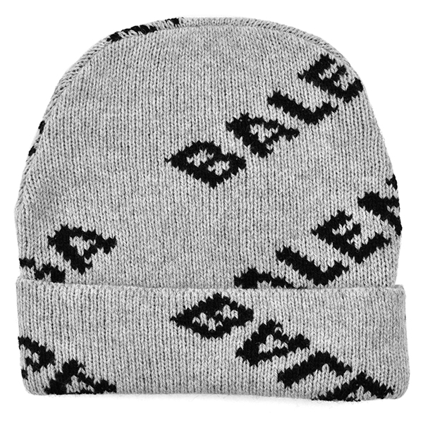WOOL LOGO JACQUARD KNIT CAP/GRAY/BLACK