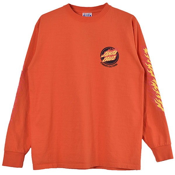SANTA CRUZ × SD Flame Logo Long Sleeve T/ORANGE