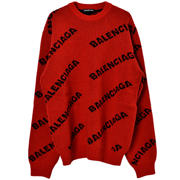 WOOL LOGO JACQUARD KNIT/RED/BLACK