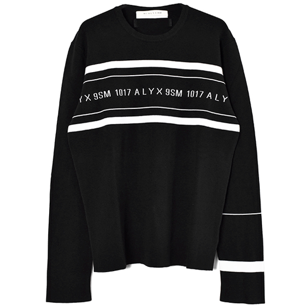 LOGO MULTI STRIPE SWEATER/BLACK