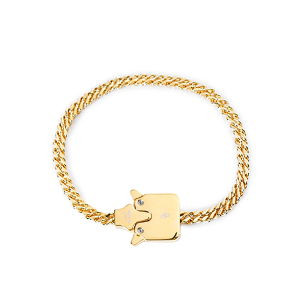 MINI CUBIX CHAIN BRACELET/GOLD SHINY