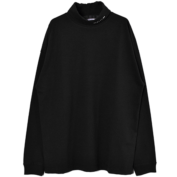 L/S ROLL NECK TEE VISUAL/BLACK