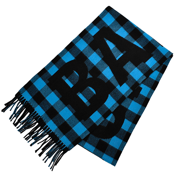 CHECK OVER SIZE SCARF/BLUE