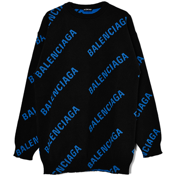 ALL OVER LOGO KNIT SWEATER/BLACK/BLUE