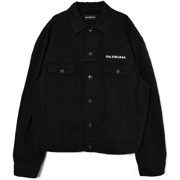 LARGE FIT DENIM JACKET/BLACK