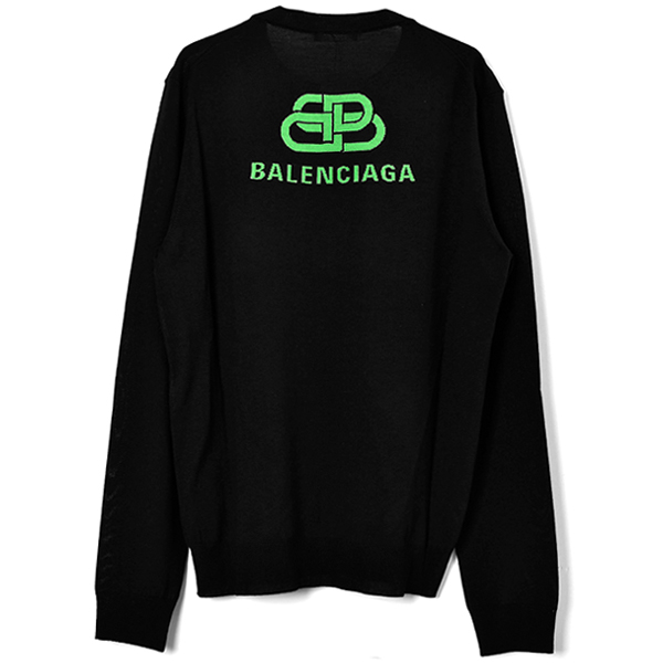 BB LOGO KNIT SWEATER/BLACK/NEON GREEN