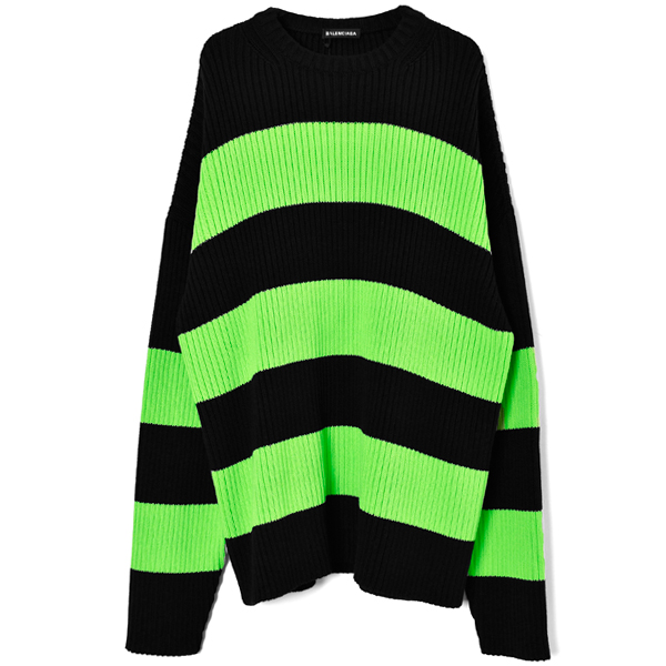 CREW NECK KNIT SWEATER/BLACK/ACID
