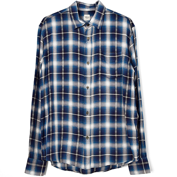 Rayon Dobby Plaited Shirt/BLUE
