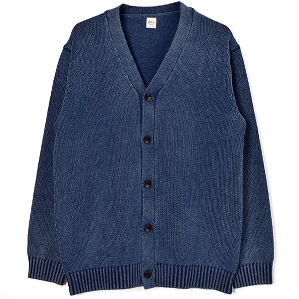Denim Wash Cardigan/INDIGO