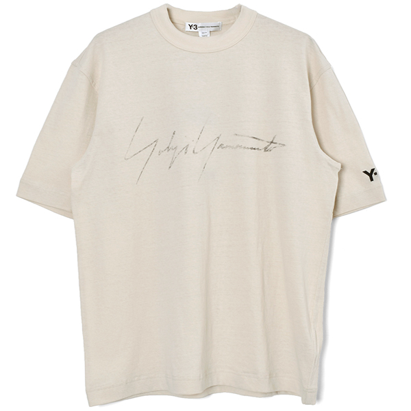 M DISTRESSED SIGNATURE SS TEE/ECRU